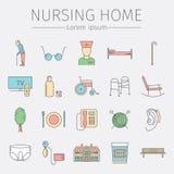Het pictogram van de Verpleeghuislijn Symbolen van Oudere Mensen Vectorillustratie Royalty-vrije Stock Foto's