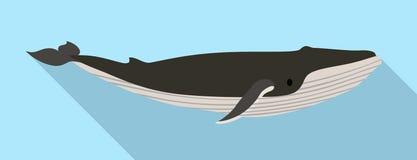 Het pictogram van de vinwalvis, vlakke stijl stock illustratie