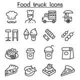 Het pictogram van de voedselvrachtwagen in dunne lijnstijl die wordt geplaatst royalty-vrije illustratie