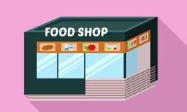 Het pictogram van de voedselwinkel, vlakke stijl vector illustratie
