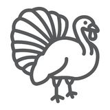 Het pictogram van de de vogellijn van Turkije, dier en landbouwbedrijf, gevogelteteken, vectorgrafiek, een lineair patroon op een vector illustratie