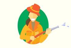 Het pictogram van de vrouwenholding firehose, vector vlak ontwerp, girl do men ` s het werkconcept Stock Fotografie