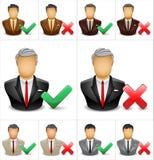 Het pictogram van de zakenman met tik en dwarssymbool Stock Afbeelding