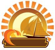 Het pictogram van de zomer - zeilboot stock illustratie