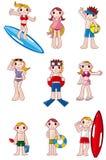 Het pictogram van de zomermensen van het beeldverhaal Stock Afbeeldingen