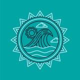 Het pictogram van de de zomervakantie met oceaan in de stijl van de lijnkunst Stock Foto