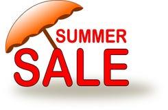 Het pictogram van de de zomerverkoop met oranje strandparaplu stock illustratie