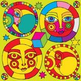 Het pictogram van de zon en van de maan royalty-vrije illustratie