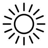 Het Pictogram van de zonlijn Glanzende zon vectordieillustratie op wit wordt geïsoleerd Zon en van het stralenoverzicht stijlontw stock illustratie