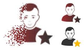 Het Pictogram van fonkelingsdot halftone user rating star met Gezicht Royalty-vrije Illustratie