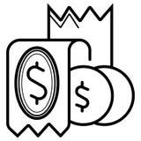 Het pictogram van het geldconcept - dollarnota en muntstukken vector illustratie