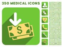 Het Pictogram van het bankbiljetteninkomen en Medische Longshadow-Pictogramreeks Stock Foto