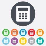 Het pictogram van het calculatorteken. Boekhoudingssymbool. Stock Foto