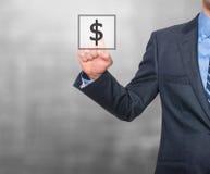 Het pictogram van het de dollarteken van de zakenmanpers Royalty-vrije Stock Foto