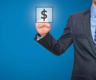 Het pictogram van het de dollarteken van de zakenmanpers Stock Afbeelding