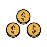 Het pictogram van het dollarmuntstuk vector illustratie