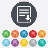 Het pictogram van het downloaddossier. Het symbool van het dossierdocument. Stock Afbeeldingen