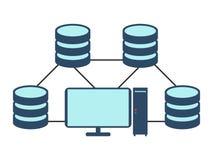Het pictogram van het gegevensbestandnetwerk Vlakke Vectorillustratie op witte backgro Stock Foto