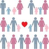 Het pictogram van het gezinsleven dat in kleur wordt geplaatst Royalty-vrije Stock Afbeelding