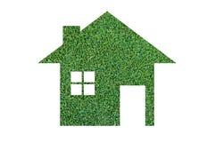Het pictogram van het grashuis van grasachtergrond Stock Afbeelding