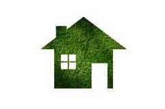 Het pictogram van het grashuis van grasachtergrond, Eco-Architectuur Royalty-vrije Stock Foto's