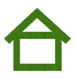 Het pictogram van het grashuis van grasachtergrond, op wit wordt geïsoleerd dat Royalty-vrije Stock Afbeelding
