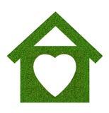 Het pictogram van het grashuis van grasachtergrond, op wit wordt geïsoleerd dat Royalty-vrije Stock Fotografie