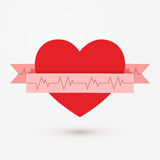 Het pictogram van het hartlint op witte vector wordt geïsoleerd die als achtergrond Cardiogramsymbool royalty-vrije stock foto's