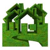 Het Pictogram van het huis in 3d gras - Royalty-vrije Stock Fotografie