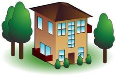 Het pictogram van het huis in de stad Stock Afbeelding