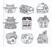 Het pictogram van het krabbelhuis Royalty-vrije Stock Foto's