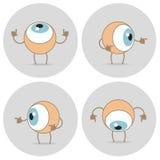 Het pictogram van het ogenbeeldverhaal Het oog kijkt omhoog, onderaan, linker, juist, rond, vector illustratie