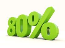 80% het pictogram van het percentagetarief op een witte achtergrond Stock Afbeelding