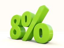 8% het pictogram van het percentagetarief op een witte achtergrond Royalty-vrije Stock Fotografie