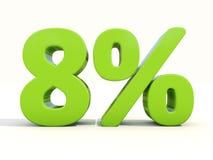 8% het pictogram van het percentagetarief op een witte achtergrond Royalty-vrije Stock Foto's
