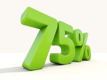 75% het pictogram van het percentagetarief op een witte achtergrond Royalty-vrije Stock Afbeeldingen