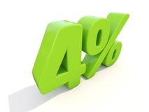 4% het pictogram van het percentagetarief op een witte achtergrond Royalty-vrije Stock Afbeelding