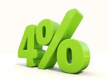 4% het pictogram van het percentagetarief op een witte achtergrond Royalty-vrije Stock Fotografie