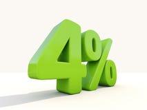 4% het pictogram van het percentagetarief op een witte achtergrond Royalty-vrije Stock Foto's