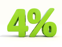4% het pictogram van het percentagetarief op een witte achtergrond Stock Afbeelding