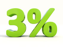 3% het pictogram van het percentagetarief op een witte achtergrond Royalty-vrije Stock Fotografie