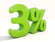 3% het pictogram van het percentagetarief op een witte achtergrond Royalty-vrije Stock Afbeeldingen