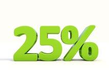 25% het pictogram van het percentagetarief op een witte achtergrond Stock Foto's