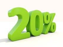 20% het pictogram van het percentagetarief op een witte achtergrond Royalty-vrije Stock Foto's