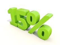 15% het pictogram van het percentagetarief op een witte achtergrond Stock Foto's