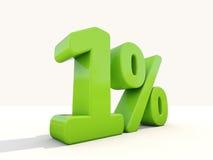 1% het pictogram van het percentagetarief op een witte achtergrond Stock Fotografie