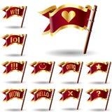 Het pictogram van het praatje dat op vlaggen wordt geplaatst Royalty-vrije Stock Afbeeldingen