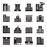het pictogram van het silhouetziekenhuis Royalty-vrije Stock Foto's