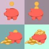 Het pictogram van het spaarvarken in stijl van vlak ontwerp Stock Fotografie