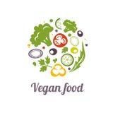 Het pictogram van het veganistvoedsel Het vectormalplaatje van het embleemontwerp Stock Foto's